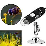 Zhenrong 20X-1000X USB Digital Microscope camera android 8-LED light 2.0MP HD Magnifying Glass Magnifier Endoscope Work with Windows/Linux/Vista (Simple microscope 1000X.)