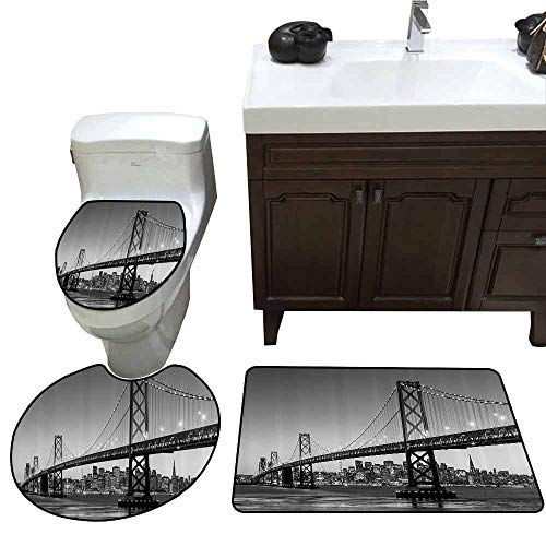 3 Piece Toilet mat Set Apartment Decor Collection Sun Setting View of San Francisco Bay Bridge California USA Tourist Attraction Image 3 Piece Toilet Cover Set Gray