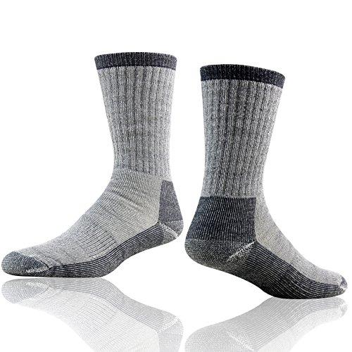 Merino Wool Hiking Socks, RTZAT Premium Merino Wool Full Cushion Cozy Thermal Outdoor Athletic Crew Length Socks Fathers Day Gifts for Dad, 1 Pair Gray Medium