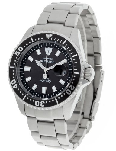 Detomaso Men's DT1039-A San Remo Solar Divers Classic Schwarz Silber Analog Display Japanese Quartz Silver Watch