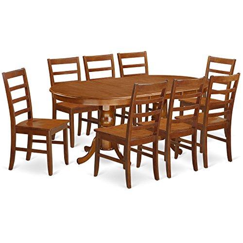East West Furniture PLPF9-SBR-W 9-Piece Dining Table Set