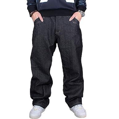 60f36fdedd YY-Rui Men s Baggy Jeans Classic Plain Loose Hip Hop Pants Dance Black  Jeans Denim