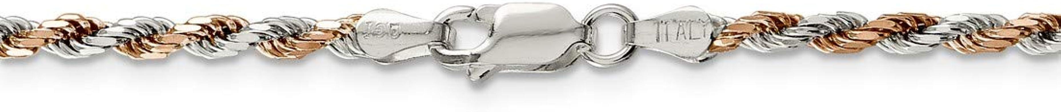 .925 Sterling Silver 2.5MM Rose Vermeil Diamond-Cut Rope Link Bracelet