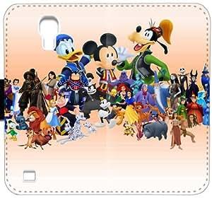 M2J2T Funda Samsung Galaxy S4 caja de la carpeta de cuero funda 3gXa6E duro únicos funda caso del tirón de los personajes de Disney