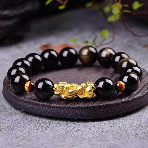 - Wholesale JoursNeige Gold Black Natural Obsidian Stone Bracelets Round Beads with 3D Pixiu Bracelet Luck for Women Gift Jewelry.