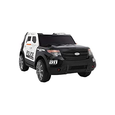 Papake Off-Road Modified Police Car Dual Drive 35W 2 Battery 12V7AH 1,Police car Toys with 2.4G Remote Control,Ride-On Car Truck, Black White: Toys & Games