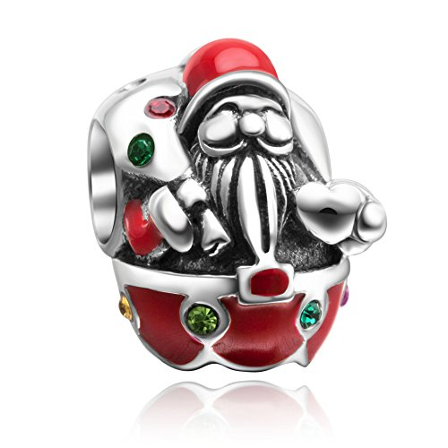 Christmas Stocking,Snowman,Santa Claus Charms 925 Sterling Silver Xmas Crystal Charms for Bracelet (Santa (Crystal Christmas Charm)