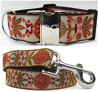 "product image for Diva-Dog 'Venice Ivory' 2"" Extra Wide Custom Dog Collar with Plain or Engraved Buckle, Matching Leash Available - Medium Dog"