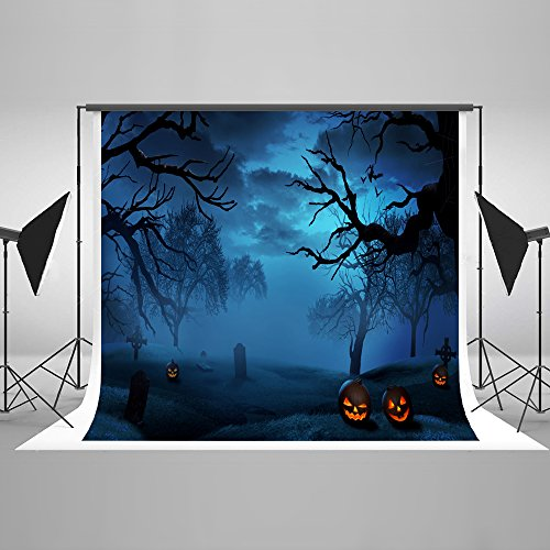 7ft(W) x5ft(H) Dark Night Halloween Photography Background Forest Tomb with Pumpkins Lantern Backdrops for Photographic Studio Props Cotton Cloth Horror Halloween Background -