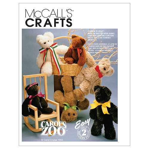 McCall's Patterns M6188 Stuffed Animals, One Size Only Teddy Bear Pattern