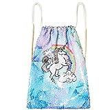 Unicorn Sequin Bag Drawstring Backpack Dancing Beach Hiking Glitter Bags
