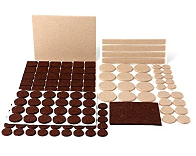 Felt Pads, MINERVA Heavy Duty Adhesive Furniture Pads - Floor Protector for Tiled, Laminate, Wood Flooring - 141 Pieces Floor Protectors, Felt Chair Pads, Hardwood Floor Protector of Various Sizes Inc