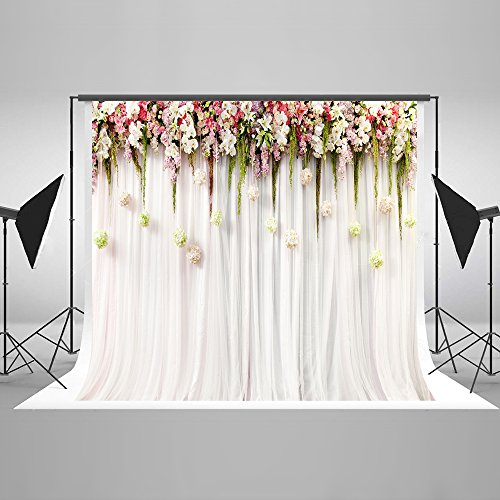 7x5ft Cotton Polyester Colorful Flowers White Pink Lace Curtain Wedding Ceremony Photography Backdrop No Creases Folding and Washable Photo Booth Background