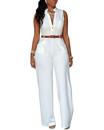 Combinaison En Col V Profonde Femme Sans Manche Jambe Large Jumpsuit  Playsuit Rompers Pantalons Longue Blanc 035029c61577