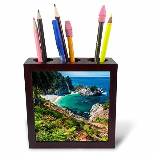 3dRose Danita Delimont - Coastlines - McWay Cove, Julia Pfeiffer Burns State Park, Big Sur, California, USA - 5 inch tile pen holder (ph_278638_1) (Julia Pfeiffer Burns State Park Big Sur)