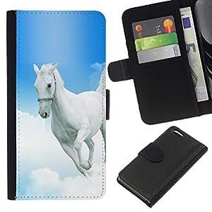 KingStore / Leather Etui en cuir / Apple Iphone 5C / Mustang Horse azul cielo Dios cristiano Blanca