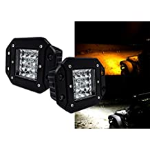 Flush Mount Dual Color High Output White Amber LED POD light Changing Flasher Strobe Optic Lens Emergency Driving Fog Spot Light for Offroad Truck SUV ATV Jeep Motorcycle Boat Marine 12 - 32 volts.