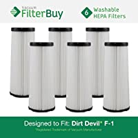 6 - FilterBuy Dirt Devil F1 (F-1) Washable and Reusable Compatible Filters. Designed by FilterBuy to Replace Dirt Devil Part #s 3JC0280000 / 3-JC0280-000 & 2JC0280000 / 2-JC0280-000.