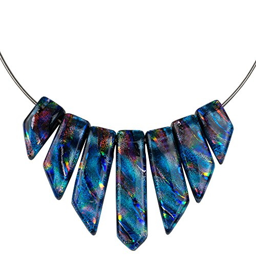- Jasmine Necklace - Rainbow Blue Dichroic Glass Necklace for Women with Bright Rainbow Accents