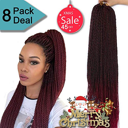 Twist Crochet - 8Packs 22Inch 35Stands/Pack Senegalese Twist Crochet Braids 4 Colors Avaliable for Women High Temperature Fiber Synthetic Braiding Hair Extensions (22 Inch, 1B/Bug)