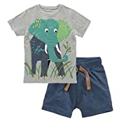 Fiream Baby Boy's Cotton Cute Short Sleeve Clothing Set(Set1,2T)