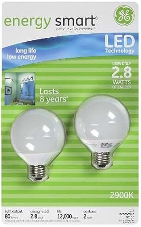 ge 76464 energy smart led globe light bulb white 2 8 watt 2 pk led household light bulbs. Black Bedroom Furniture Sets. Home Design Ideas