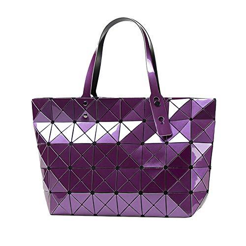 Lindo De Bolsa Geométrica Cuero Laidaye Womens Para pink Pu Hombro Lattice Mujer Moda Totes onesize Purple La Aqq7xzdp
