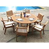 """New 7 Pc Luxurious Grade-A Teak Dining Set - 60"""" Round Table And 6 Stacking Arbor Arm Chairs #WHDSAB7"""