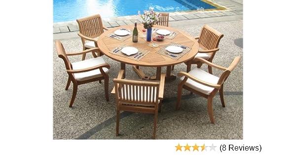 be20db23e88a5 Amazon.com  New 7 Pc Luxurious Grade-A Teak Dining Set - 60