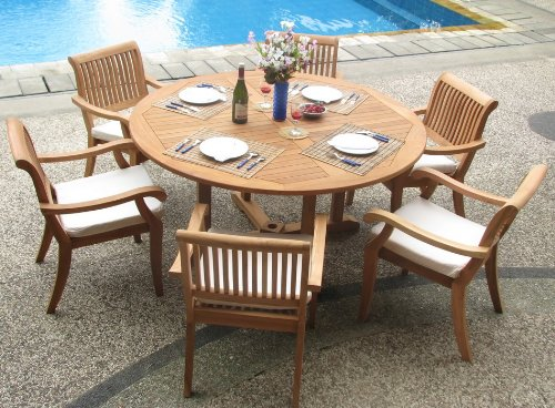 New 7 Pc Luxurious Grade-A Teak Dining Set – 60″ Round Table And 6 Stacking Arbor Arm Chairs #WHDSAB7 Review