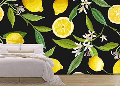 Vector Seamless Pattern Lemon Fruits Background Floral Pattern Flowers Leaves Lemons