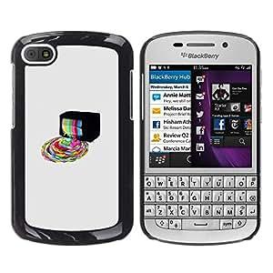 // PHONE CASE GIFT // Duro Estuche protector PC Cáscara Plástico Carcasa Funda Hard Protective Case for BlackBerry Q10 / Psychedelic Rainbow TV /