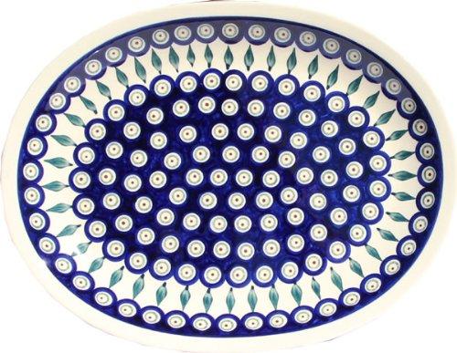 Polish Pottery Large Serving Platter Zaklady Ceramiczne Boleslawiec 1007-56 Peacock by Polish Pottery Market (Image #1)