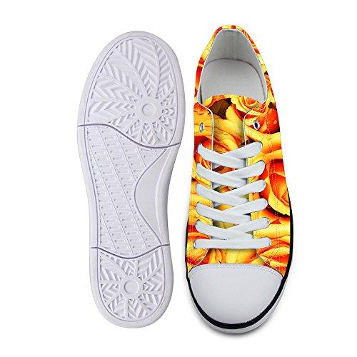 Pour Les Conceptions Élégantes Femmes Casual Lace-up Bas Top Confort Toile De Mode Sneaker Jaune Rose 2