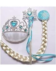 3 Pcs set Frozen Elsa Cosplay Tiara girl Hair Accessories set Crown Wig Wand