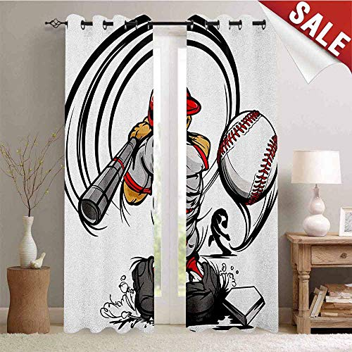 Teen Room, Blackout Draperies for Bedroom, Baseball Cartoon Style Player Hitting The Ball Boys Kids Caricature Print, Thermal Insulating Blackout Curtain, W108 x L108 Inch Grey Red White ()