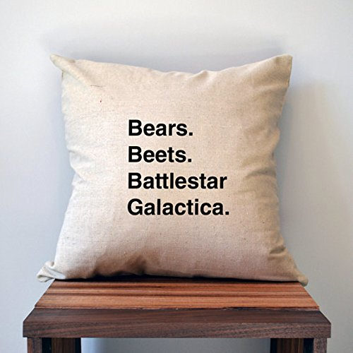 Bears Beets Battlestar Galactica, The Office Quote Pillow Cover Gift for Her, Gift for Him, Home Decor, Husband Gift