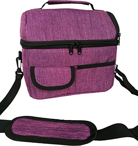 PuTwo Lunchtasche Insulated Tote Große Kapazität mit verstellbarem Schulterriemen Kühltasche Allerbaby--Dunkles Violet