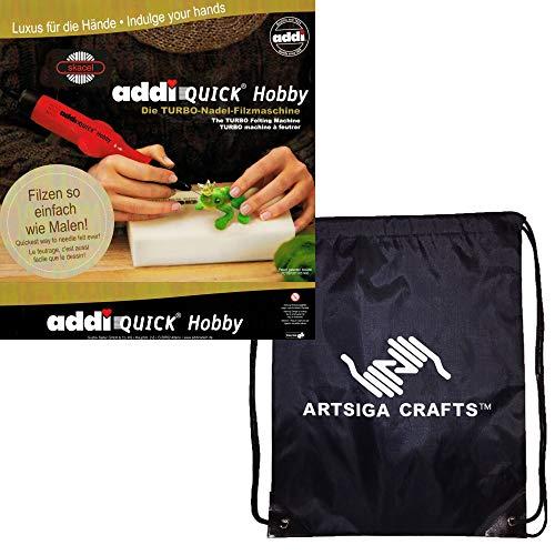 addi Knitting Needles Quick Hobby Turbo Needle Felting Machine 850-2 Bundle with 1 Artsiga Crafts Project Bag
