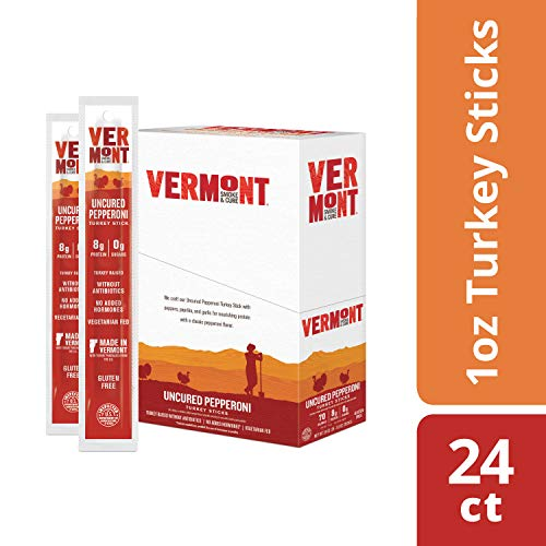 Vermont Smoke & Cure Jerky Sticks - Antibiotic Free Turkey - Gluten Free - Great Keto Snack, High in Protein & Low Sugar - Uncured Pepperoni - 1oz Stick - 24 Count