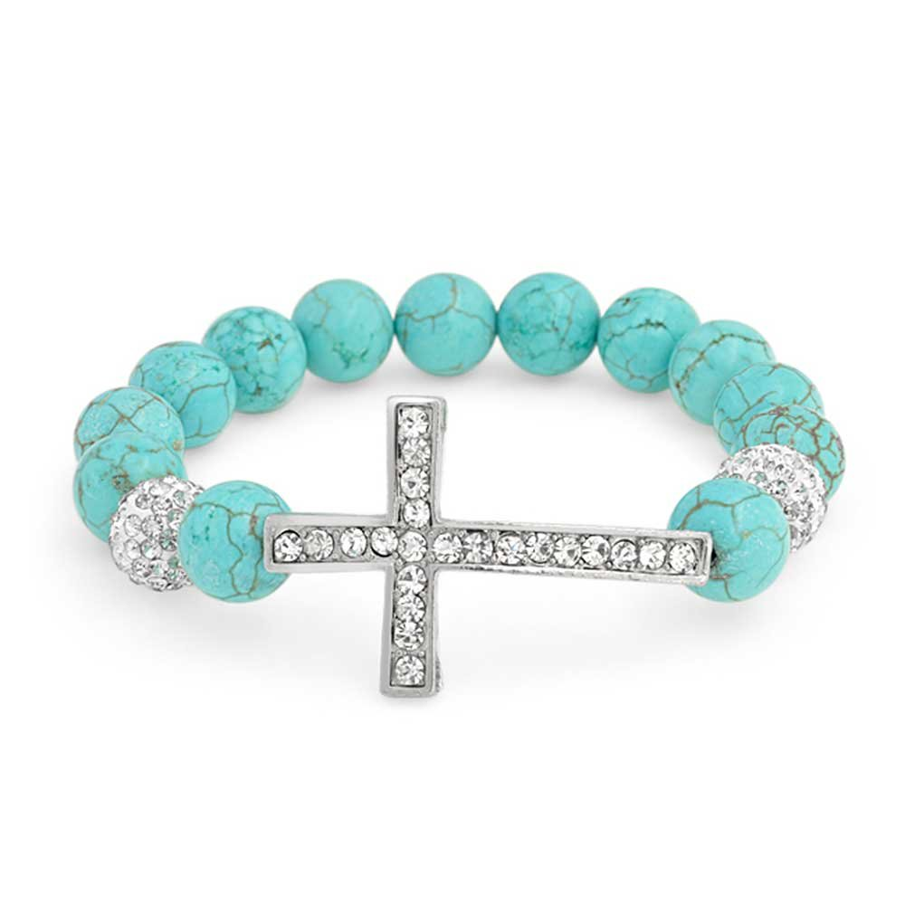 Bling Jewelry Reconstituted Turquoise Cross Shamballa Inspired Stretch Bracelet Rhodium Plated by Bling Jewelry
