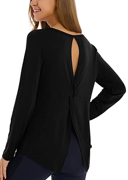 various design clear-cut texture discount price Fihapyli Women's Workout Tops Long Sleeve T Shirt Backless Tops Yoga Shirt  Sports Tank Tops
