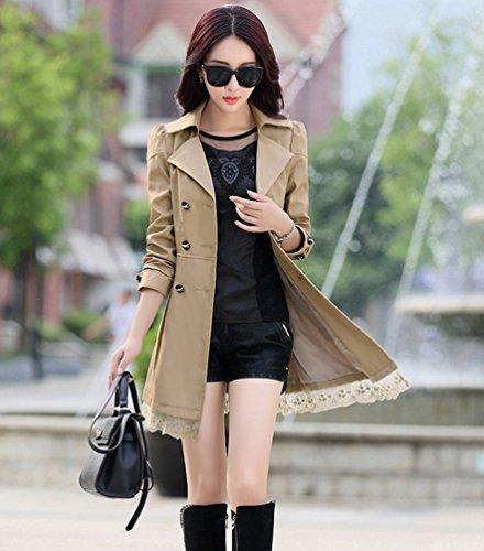 Automne Lace YuanDian Long Double Femmes Boutonnage Revers Slim Coat Printemps Fit Midi Trench Casual BxxqUEYw