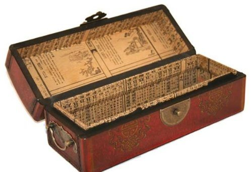 Vintage Chinese Jewelry Keepsake box W. Leather Surface