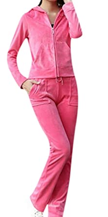 Amazon Com Mlg Women S Regular Velour Sweatsuit Solid Tracksuit