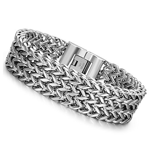 LOYALLOOK Stainless Steel 19MM Cuban Curb Link Chain Men's Bracelets Rock Link Wristband ,8 Inches
