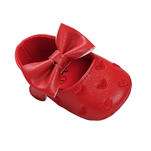 Suave Para auxma Único 18 Rojo Antideslizante Bebé Niña Zapatos Zapatillas Cuero 0 Bowknot De Meses Niño RPP1gAqw8