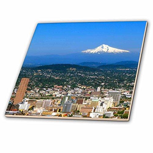 (3dRose ct_93477_2 USA, Oregon, Portland. City Skyline and Mt. Hood-Us38 Bja0166-Jaynes Gallery-Ceramic Tile, 6-Inch )