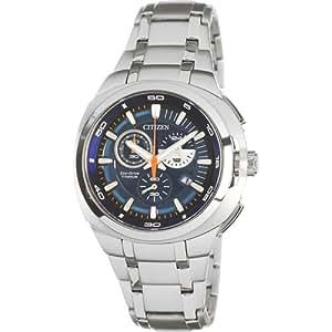 Citizen AT2021-54L - Reloj cronógrafo de cuarzo para hombre con correa de titanio, color plateado