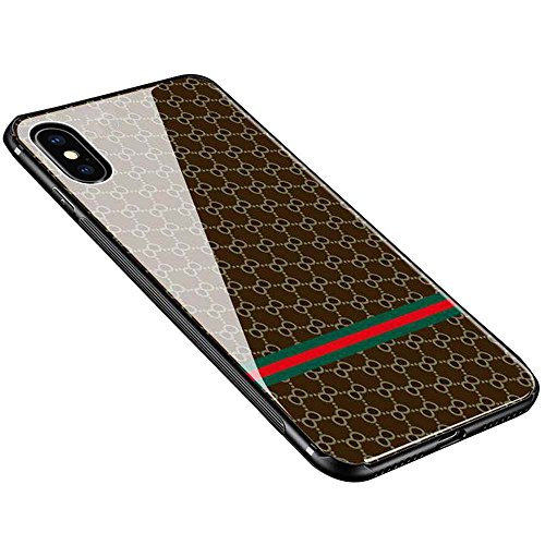 iPhone X Case, iPhone 10 Case, Weiduka TPU + Crystal Steel Tempering Glass Case, Mirror Glass Floral Pattern Painted Bumper Smooth Protective Phone Cover for iPhone X / 10 (Lattice Dark)